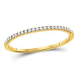 1/8 CTW Round Diamond Stackable Ring 10kt Yellow Gold - REF-14M4A