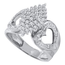 1/2 CTW Round Diamond Cluster Heart Ring 10kt White Gold - REF-24F3M
