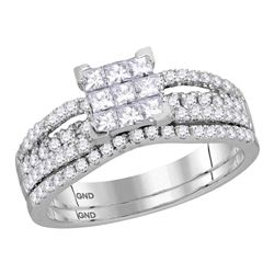 1 CTW Princess Diamond Cluster Bridal Wedding Engagement Ring 14kt White Gold - REF-77H9W