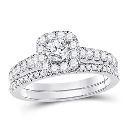 1 CTW Round Diamond Bridal Wedding Engagement Ring 14kt White Gold - REF-105H5W