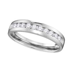 1/2 CTW Mens Round Diamond Wedding Single Row Ring 14kt White Gold - REF-63N3Y
