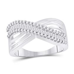 1/2 CTW Round Baguette Diamond Strand Crossover Ring 10kt White Gold - REF-27X5T