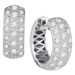 7/8 CTW Round Diamond Hoop Huggie Earrings 14kt White Gold - REF-81F3M