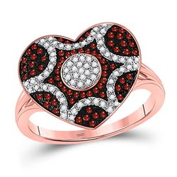1/3 CTW Round Red Color Enhanced Diamond Starburst Heart Cluster Ring 10kt Rose Gold - REF-35F9M