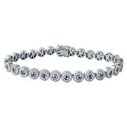 2.09 CTW Sapphire & Diamond Bracelet 18K White Gold - REF-221H7M