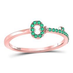 1/5 CTW Round Emerald Key Stackable Ring 10kt Rose Gold - REF-10T8K
