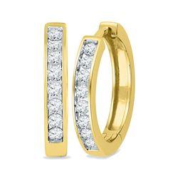 1/2 CTW Round Diamond Hoop Earrings 10kt Yellow Gold - REF-39W6F