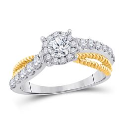 1 CTW Round Diamond Solitaire Bridal Wedding Engagement Ring 14kt White Gold - REF-120X3T