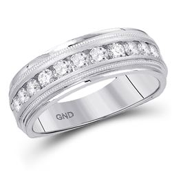 1/4 CTW Mens Machine Set Round Diamond Wedding Channel Ring 10kt White Gold - REF-35N9Y