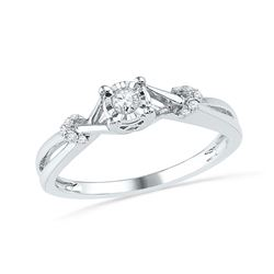 1/10 CTW Round Diamond Solitaire Twist Promise Bridal Ring 10kt White Gold - REF-14W4F