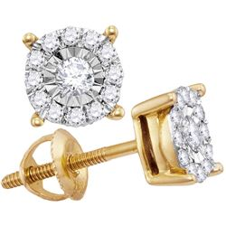 1/4 CTW Round Diamond Solitaire Cluster Stud Earrings 10kt Yellow Gold - REF-21R5H