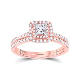 3/4 CTW Princess Diamond Bridal Wedding Engagement Ring 10kt Rose Gold - REF-71W9F