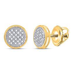 1/6 CTW Round Diamond Circle Earrings 14kt Yellow Gold - REF-20K3R