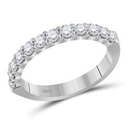 1/2 CTW Machine Set Round Diamond Single Row Wedding Ring 14kt White Gold - REF-47W9F
