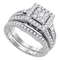 1 CTW Round Diamond Square Bridal Wedding Engagement Ring 14kt White Gold - REF-95M9A