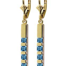 Genuine 0.70 ctw Blue Topaz Earrings 14KT Yellow Gold - REF-55T2A