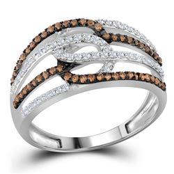 1/2 CTW Round Brown Diamond Linked Loop Ring 10kt White Gold - REF-27H3W
