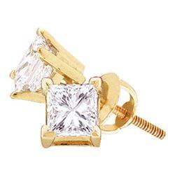1 CTW Princess Diamond Solitaire Stud Earrings 14kt Yellow Gold - REF-153K3R