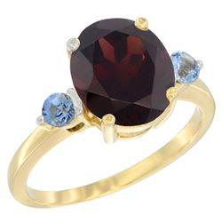 2.64 CTW Garnet & Blue Sapphire Ring 10K Yellow Gold - REF-27X3M
