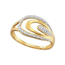 1/20 CTW Round Diamond Oval Fashion Ring 10kt Yellow Gold - REF-9F6M