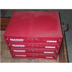 Grainger Steel Storage Box w/ Contents