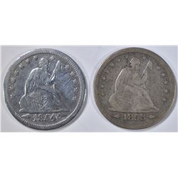1853 & 1854 SEATED LIBERTY QUARTERS FINE