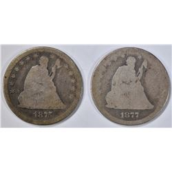 1875 G & 1877 AG SEATED LIBERTY DIMES