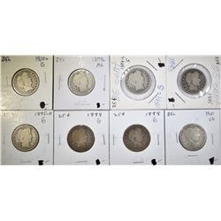 8 BARBER QUARTERS EARLY DATES MOSTLY GOOD