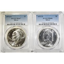 LOT OF 2 PCGS GRADED SILVER  IKES: