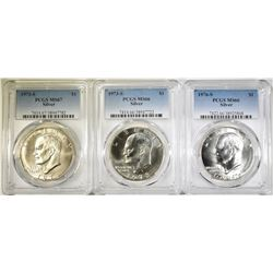 LOT OF 3 PCGS GRADED SILVER IKES: