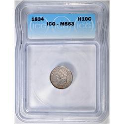 1834 BUST HALF DIME  ICG MS-63