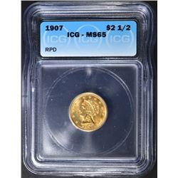 1907 $2.5 GOLD LIBERTY  ICG MS-65