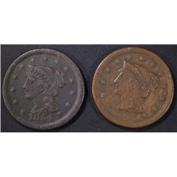 1851 VF & 54 XF LARGE CENTS
