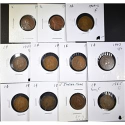 8 INDIAN & 3 LINCOLN CENTS