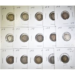 BARBER DIME LOT 15 COINS