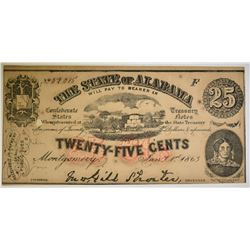 1863 25 CENT STATE OF ALABAMA NOTE