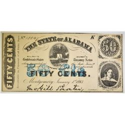 1863 50 CENT STATE OF ALABAMA NOTE