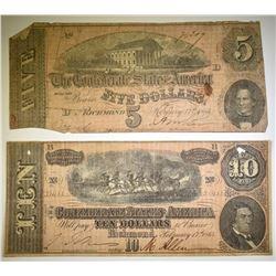 1864 $5 & $10 CONFEDERATE NOTES LOWER GRADE