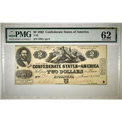 1862 $2 CONFEDERATE NOTE PMG 62 T-42