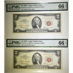 2-1963 $2.00 RED SEAL NOTES, PMG-66 EPQ