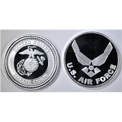AIR FORCE & MARINES 1-oz .999 SILVER ROUNDS