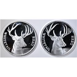 2-WHITE TAILDEER 1-oz .999 SILVER ROUNDS