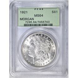 1921 MORGAN DOLLAR  PCGS MS-64
