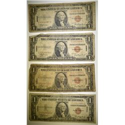 4 1935 $1 HAWAII SILVER CERTIFICATES