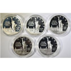 LOT OF 5 STATUE OF LIBERTY SILVER $1 PROOF COMMEMS