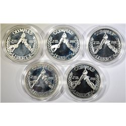 LOT OF 5 1988 OLYMPICS SILVER $1 PROOF COMMEMS