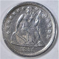 1856 LARGE DATE SEATED LIBERTY DIME  AU