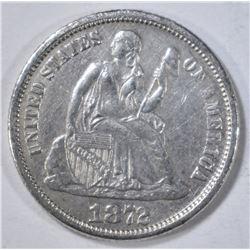 1872 SEATED LIBERTY DIME  AU