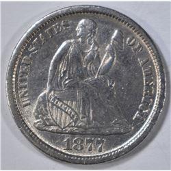 1877-CC SEATED LIBERTY DIME  AU/BU