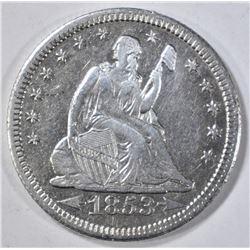 1853-O SEATED LIBERTY QUARTER  AU